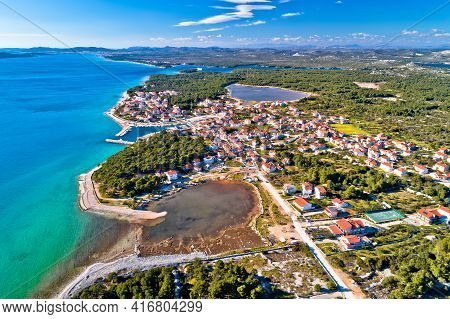 Coastal Village Of Zablace Aerial Panoramic View, Sibenik Archipelago, Dalmatia Region Of Croatia