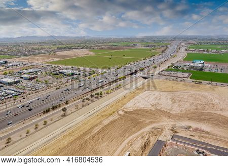 Top View Over The Traffic Backed Up During Rush Hour On Interstate Highway, Expressway Near Phoenix