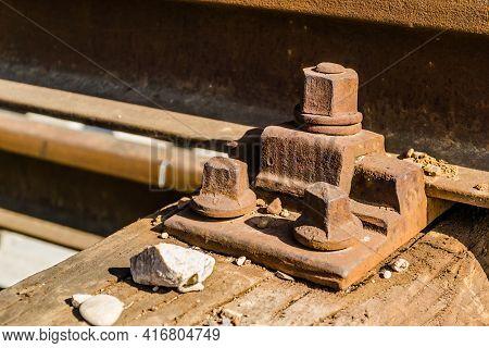 Old Screws On Slippers, Railway Sleepers, Railway Sleepers In The Railway Station Petrovaradin, Novi