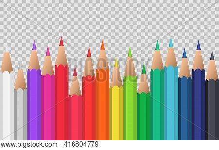 Set Of Colorful Pencils Laying In Row. Colored Pencils Isolated On Transparent Background. Back To S
