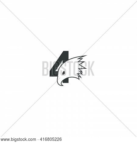 Number 4 Logo Icon With Falcon Head Design Symbol Template Vector