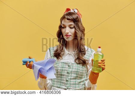 A Female Cleaner Does Not Want To Do Cleaning With Cleaning Tools In The House.