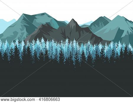 The Mountains. Mountain Range With Cliffs, Rocks And Peaks. Horizon. Landscape With Coniferous Fores