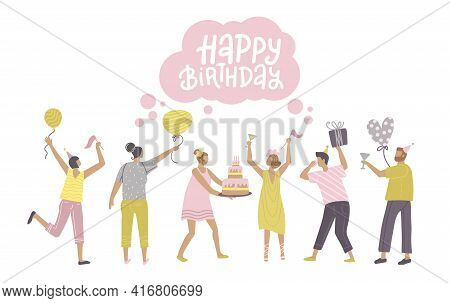 Jumping People With Presents, Balloons And Bday Cake. Dancing Men Ans Women With Gifts And Glasses.