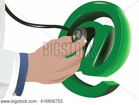 Hand With Internet Stethoscope Hand With Internet Stethoscope