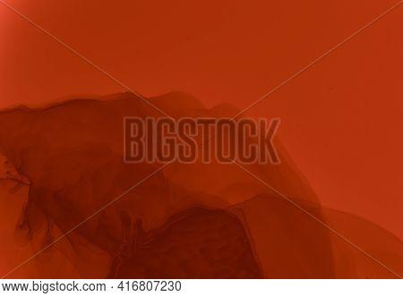 Blood Splatter Red. Watercolour Wallpaper. Grunge Horror Pattern. Stain Of Maroon Paint. Blood Spatt