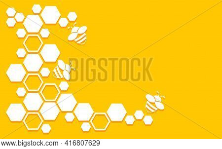 Honeycomb Vector Pattern With Bee And Hexagons. Honey Background. Yellow And White Geometric Texture