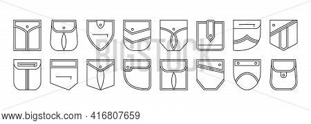 Patch Pocket Vector Icons, Buttons And Line Seam Of Jeans Shirt And Pants. Clothes Pockets Different