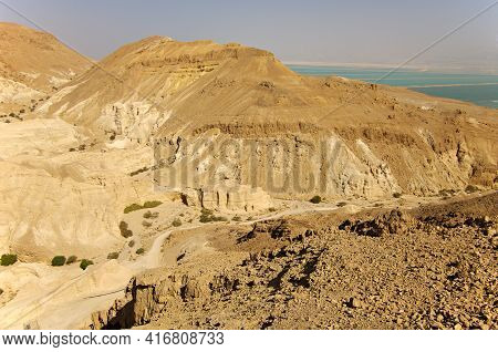 Judean Desert And   Dead Sea. Israel. Lowest Place On Earth.