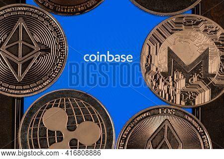 Coinbase Crypto Exchange Logo On Screen With Altcoins. Ljubljana, Slovenia - April 12 2021