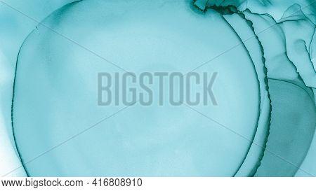 Watercolor Color Illustration. Alcohol Inks Texture. Pastel Flow Splash. Blue Ocean Fashion Abstract