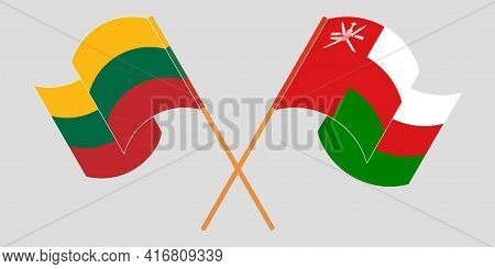 Crossed And Waving Flags Of Oman And Lithuania