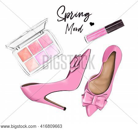 Stylish Flat Lay Set With Pink Shoes, Eye Shadows And Lipstick. Fashion Illustration.
