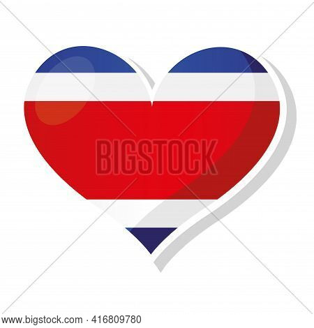 Flag Of Costa Rica In Heart Shaped - Vector Illustration
