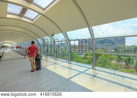 Singapore - Aug 8, 2019: Crowne Plaza Hotel View From The Corridor Of Jewel Changi International Air