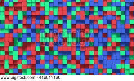 Multicolored Small Box Cube Random Geometric Background. Abstract Square Pixel Mosaic Illustration.