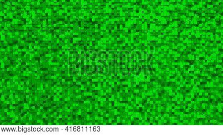 Green Small Box Cube Random Geometric Background. Abstract Square Pixel Mosaic Illustration. Land Bl