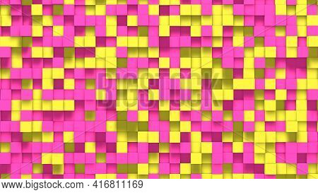 Yellow Pink Small Box Cube Random Geometric Background. Abstract Square Pixel Mosaic Illustration. L