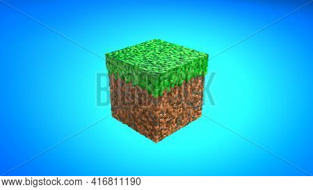 Block From Game In Isometric View On Blue Background. Video Game Geometric Mosaic Waves Pattern. Con