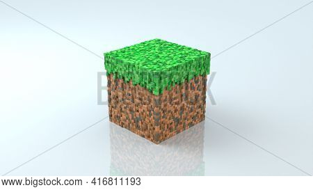 Block From Game In Isometric View On White Glossy Background. Geometric Mosaic Waves Pattern. Constr