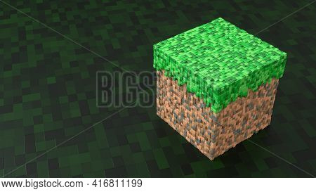 Block From Game In Isometric View On Dark Pattern Background. Geometric Mosaic Waves Pattern. Constr
