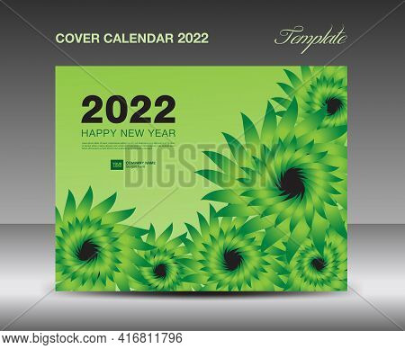 Cover Desk Calendar 2022 template, Cover Design, flyer, ads, booklet, catalog, newsletter, book cover, Green flowers nature concept, Booklet, advertisement, printing, Business template, Vector
