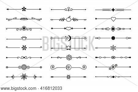 Flower And Leaf Vector Line Glyph Dividers, Borders On Isolated White. Decorative Ornaments For Scra