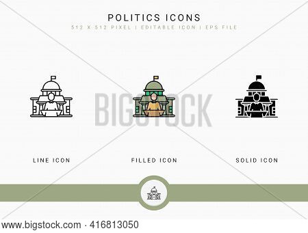 Politics Icons Set Vector Illustration With Solid Icon Line Style. Government Public Election Concep