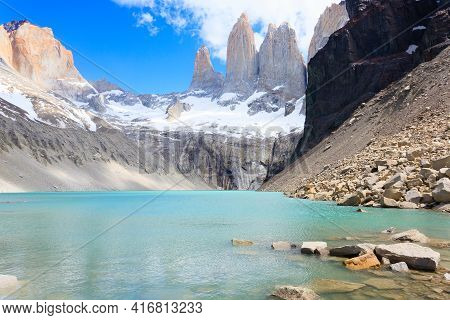 Torres Del Paine Peaks View, Chile.  Base Las Torres Viewpoint. Chilean Patagonia Landscape.