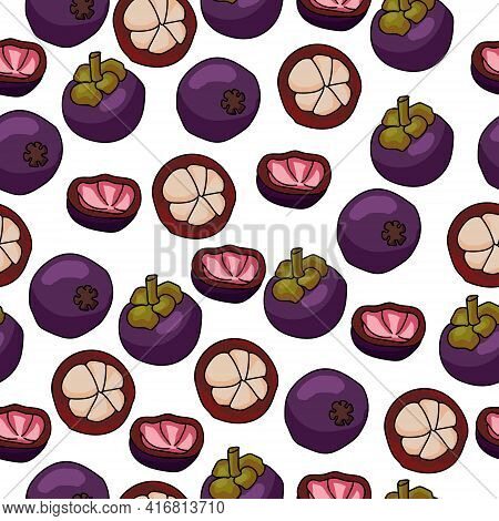 Mangosteen Seamless Pattern, Bright Purple Fruit With A Juicy Heart, Whole And A Half On A White Bac
