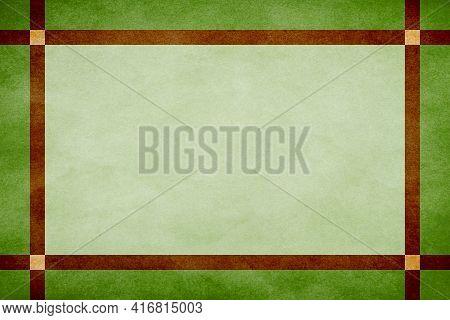 Green Grunge Textured Frame Around Mint Textured Parchment Background With Brown Grunge Textured Rib