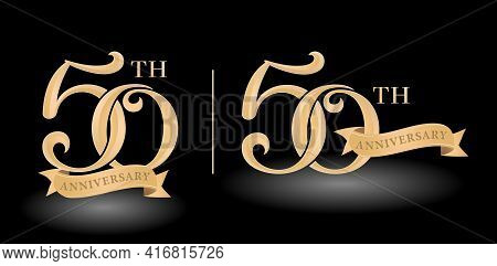 Illustration Of 50th Tag Label Golds Anniversary With Ribbon, Isolated Black Backgrounds. Applicable