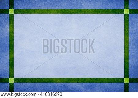 Blue Grunge Textured Frame Around Sky Blue Textured Parchment Background With Green Grunge Textured
