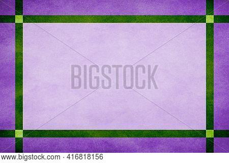 Lavender Grunge Textured Frame Around Mauve Textured Parchment Background With Green Grunge Textured