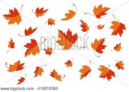 Maple Leaves. Autumn Background Template With Flying And Falling Leaves. Pattern Of Red And Orange A