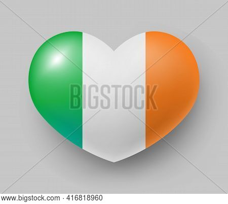 Heart Shaped Glossy National Flag Of Ireland. European Country National Flag Button, Irish Symbol In
