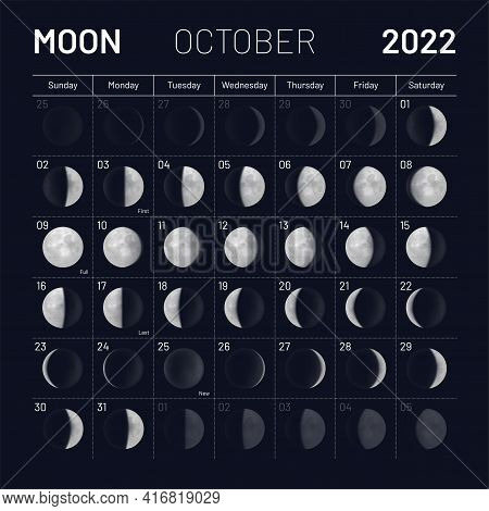 October Lunar Calendar 2022 Y Night Sky Backdrop. Month Cycle Planner, Astrology Schedule Template,