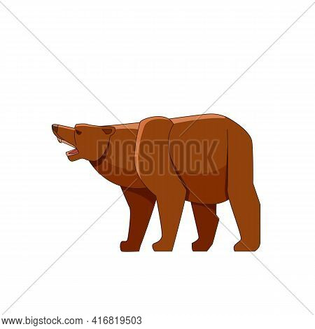 Grizzly Bear Growling. Cartoon Character Of Big Mammal Animal. Wild Forest Creature With Brown Fur.