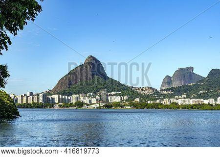 Rio De Janeiro, Mountain Two Brothers And Pedra Da Gavea. Rodrigo De Freitas Lagoon. -