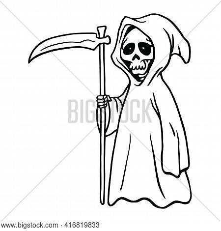 Grim Reaper Drawing Black And White Background Halloween Card Invitation Design Template