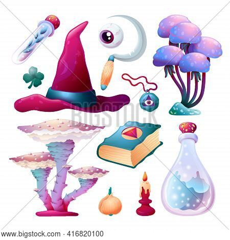 Set Of Witchcraft Accessories With Mushrooms Vector Illustration. Alchemy Collection With Magic Hat,