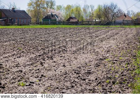Arable Land. The Opened Field In The Spring For Crops