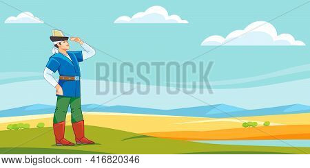 A Medieval Central Asian Kazakh Or Kyrgyz Youth Looks Into The Distant Steppe. Nomad Man. Cartoon Ve