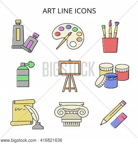 Painting And Art. Set Of Colored Icons In Flat Style