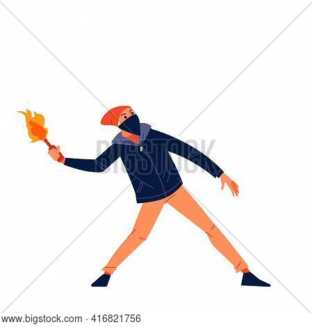 Street Riots Protests. An Aggressive Man Of Radical Youth Throws A Cocktail Molotov At The Riot Poli