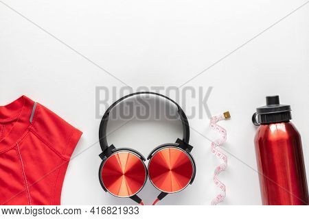 Fitness, Sport, Workout Flatlay With Copy Space On White Background.