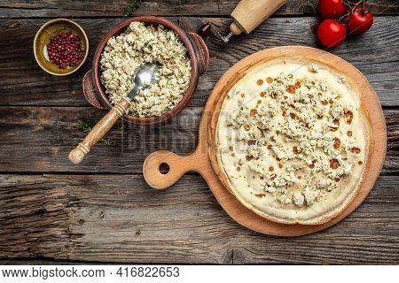 Savory Crepe Rolls, Stuffed Pancakes With Ground Meat Filling. Traditional Russian Maslenitsa Festiv