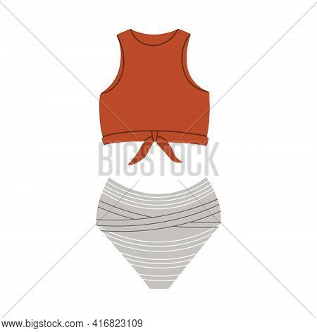 Female Sports Swimsuit-two-piece. Modern Fashion Stylish Swimsuit. Vector Flat Cartoon Illustration.