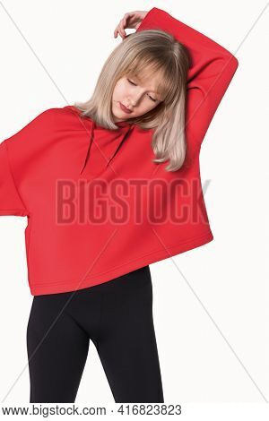 Girl in a red hoodie winter youth apparel shoot
