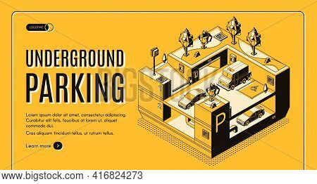 Underground Parking Service Isometric Vector Web Banner. Different Types Of Cars Left In City Public